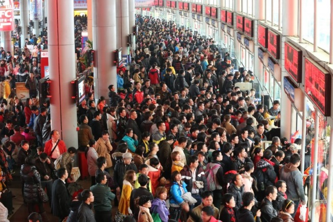 Chinese Spring Festival People Go Back to Their Hometown
